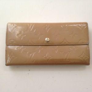 Louis Vuitton Beige Yellow Vernis Mono Long Wallet